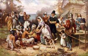 """The First Thanksgiving"" (1915), by Jean Louis Gerome Ferris"